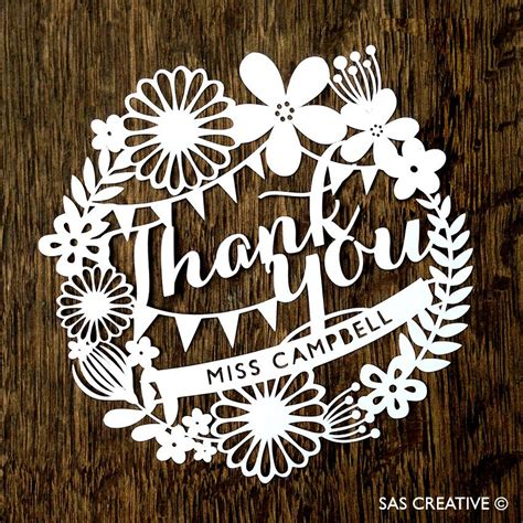 circle thank you card templates personalised papercut template thank you card pdf jpeg svg