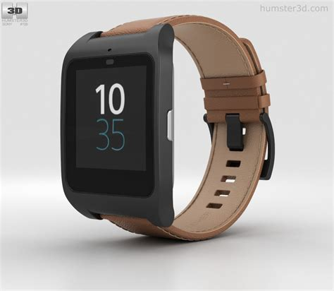 Sony Smart 3 Swr50 sony smartwatch 3 swr50 leather brown 3d model humster3d