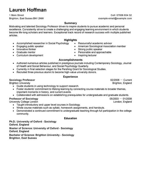 best professor resume exle livecareer 16 free