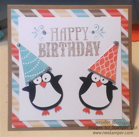 Penguin Birthday Cards It S Birthday Time A Penguin Punch Art Birthday Card