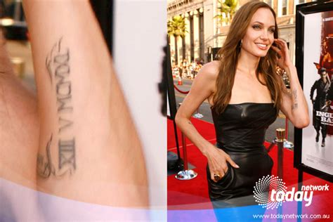 angelina jolie tattoo on her arm angelina jolie enormous tiger tattoo and things written