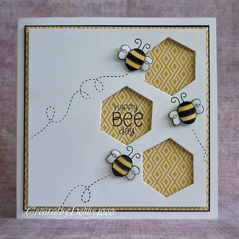 bee cards bee card with hexagon punch bjl cards