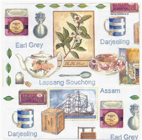 Napkins Decoupage - 4 decoupage napkins teas of india tea clipper tea