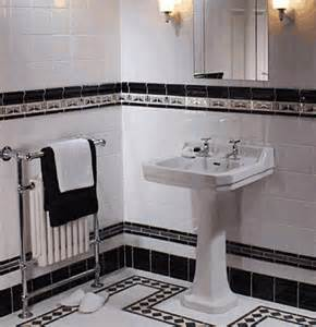 washroom tiles perhaps my favorite art deco inspired room black and white always work in a bathroom don t