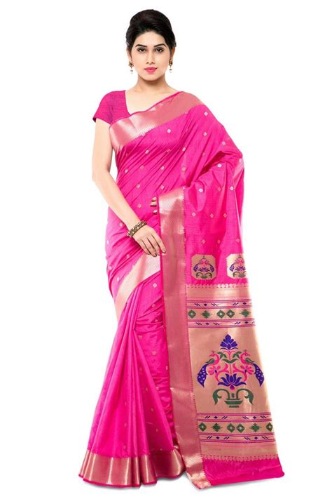 which colour blouse suits for pink saree buy party wear pink color paithani style saree in art silk