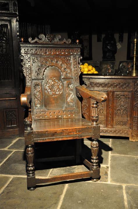 impressive elizabethan carved oak armchair circa