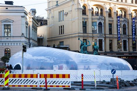 designboom helsinki plastique fantastique inflates bubble around landmark in