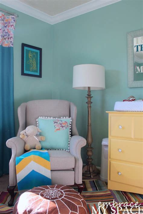 colorful gender neutral nursery turquoise paint colors and the