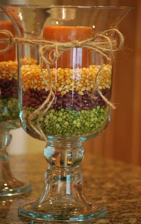 fall decorating with hurricane vases amanda brown - Simple Inexpensive Fall Table Decorations