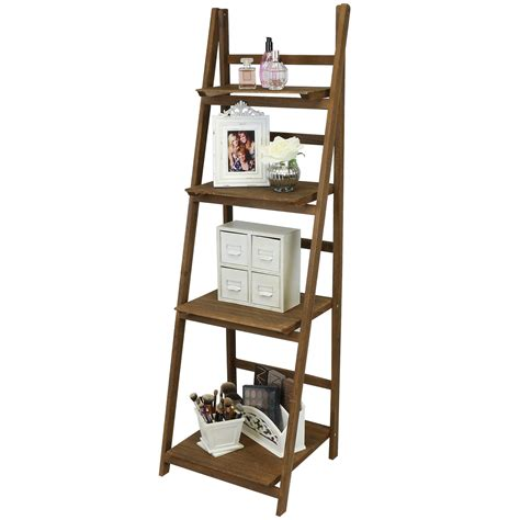 bedroom display shelves hartleys brown 4 tier folding ladder storage home display shelf bedroom bathroom ebay