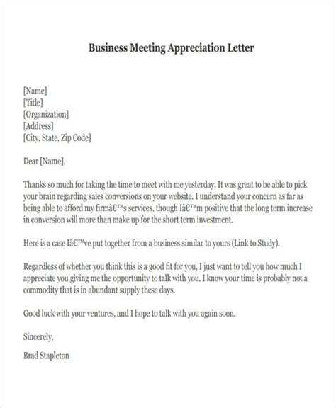 thank you letter sle business meeting letter of appreciation after business meeting 28 images