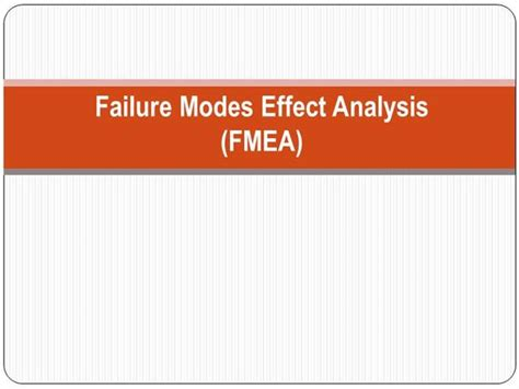 design failure mode effect analysis ppt fmea authorstream