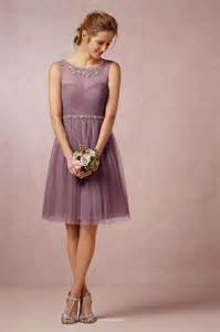 mauve sleeveless knee length tulle casual bridesmaid dress