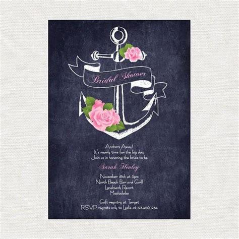 diy chalkboard bridal shower invitations anchor away printable bridal shower invitation digital