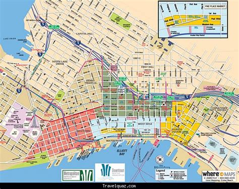 seattle visitors map map of seattle tourist travelquaz