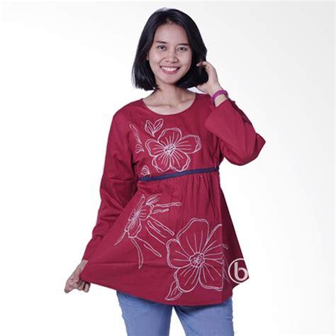 Baju Blouse Ibu Ibu jual baju sj 327 lengan panjang blouse ibu menyusui merah harga