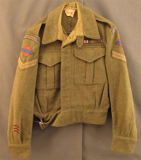 Jaket Bb Army Rusia Abu ww2 canadian jacket with canvass patches 1945 dated