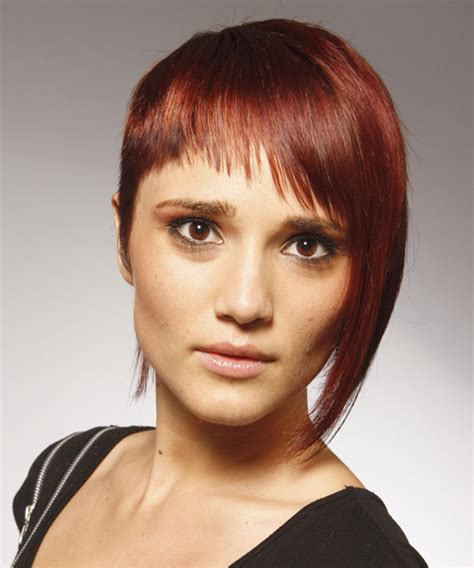 short hair one side and long other short straight alternative hairstyle dark red