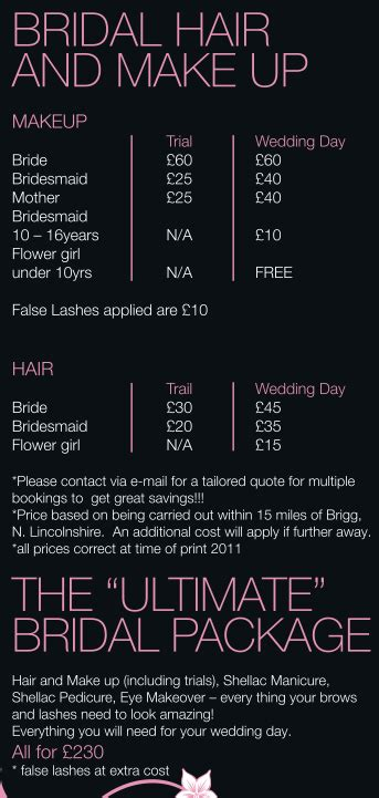 Make Up Prices For Wedding Bridal Hair And Makeup