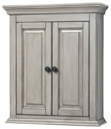 Corsicana 24 quot antique gray wall cabinet transitional bathroom cabinets and shelves by foremost