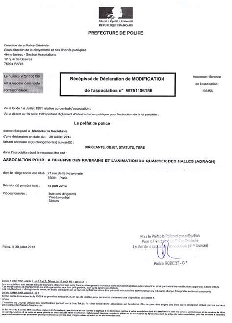 d馗laration changement bureau association declaration bureau association prefecture 28 images f