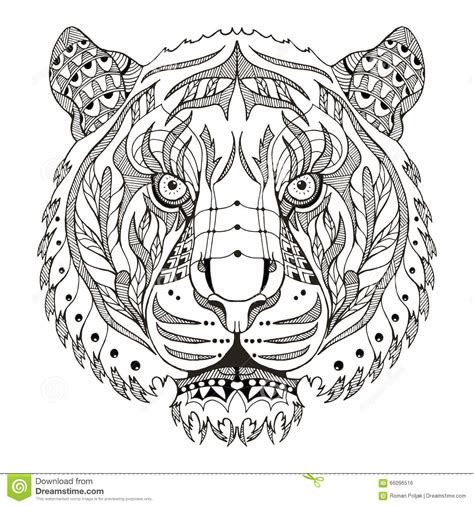 tiger mandala coloring pages tiger zentangle stylized vector illustration