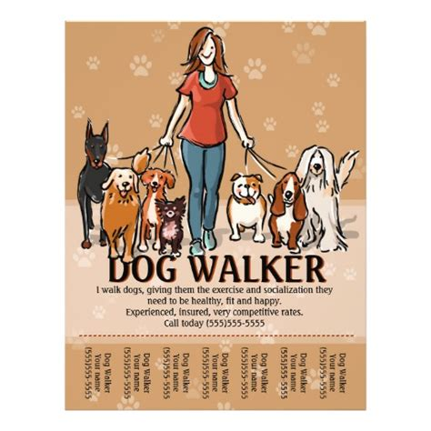 Dog Walker Dog Walking Advertising Template Flyer Zazzle Walking Flyer Template Free