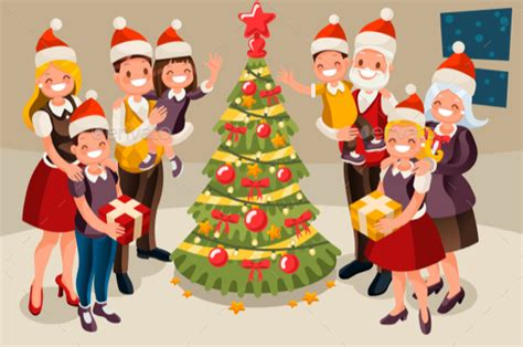 family christmas tree and children by aurielaki graphicriver