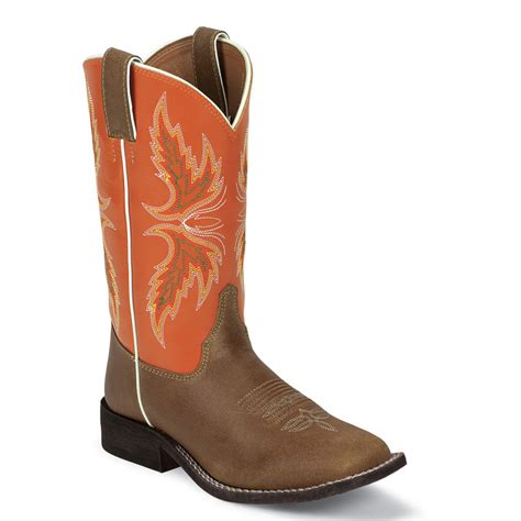 cowboy boots brown orange justin kid s cowboy boots