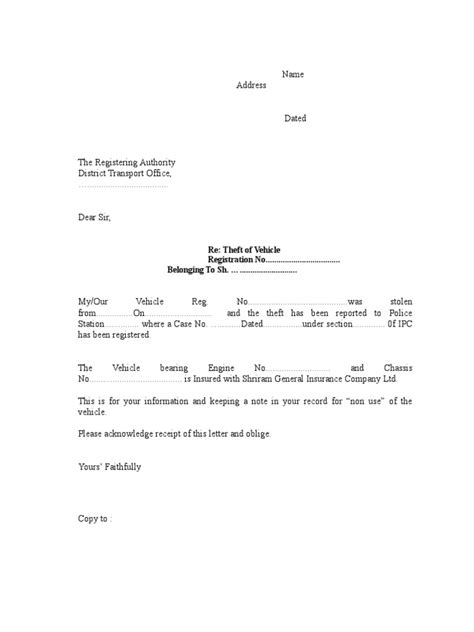 authorization letter format rto format letter to rto for vehicle theft