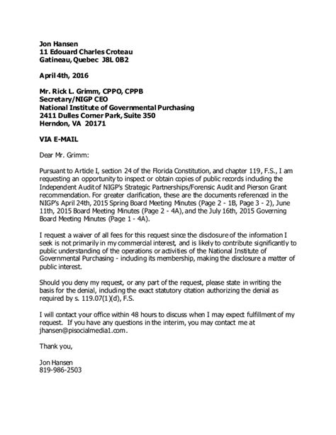 Audit Service Request Letter Nigp Forensic Audit Request For Copies Per Open Records