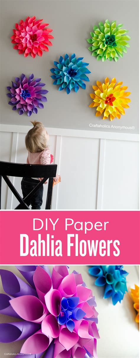 Learn How To Make Paper Flowers - craftaholics anonymous 174 rainbow paper dahlia flowers