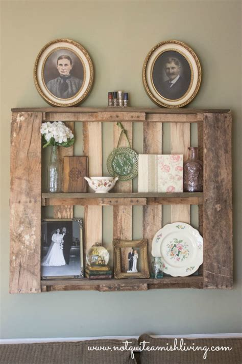 pallet shelves as home decor not quite amish