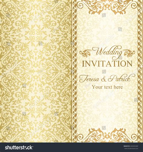 antique baroque wedding invitation gold on stock vector - Wedding Invitation Background Designs Gold