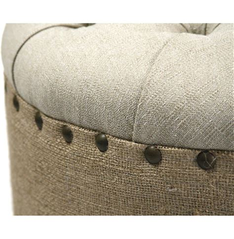 round tufted skirted ottoman french country round oval tufted linen burlap skirted