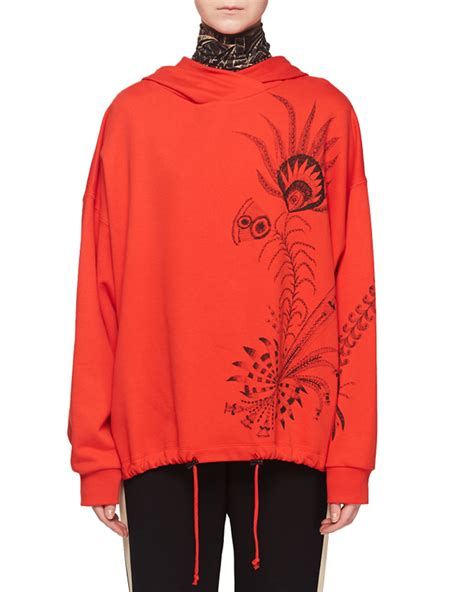 Hooded Drawstring Pullover dries noten hooded feather print pullover sweatshirt w