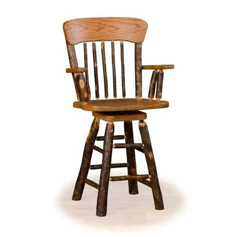 24 Swivel Bar Stools With Arms by Rustic Hickory And Oak
