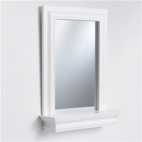 White Bathroom Mirror With Shelf Framed Bathroom Mirror Rectangular Shape With Bottom Shelf In White Wood Finish
