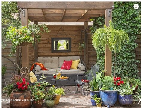 plant ideas for backyard patio seating area potted plants mirror patio