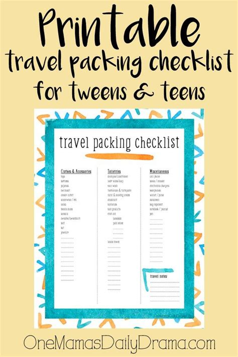 printable travel checklist for family printable travel packing checklist for tweens teens