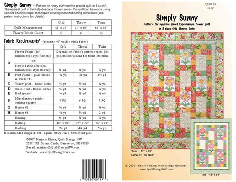 quilt pattern fabric requirements qdnw simply sunny kaleidoscope flower quilt pattern