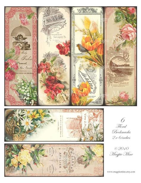 printable victorian flowers victorian floral bookmarks printable vintage roses by