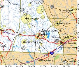 map of shelby carolina cleveland county carolina