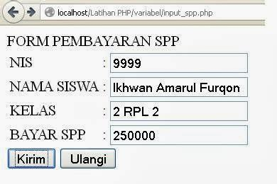 membuat form  variable  php  learning software