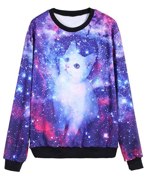 Sweatshirt Print galaxy cat print sweatshirtfor romwe