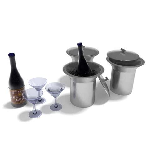 Bar Set With Glasses Bar Set Glasses Buckets Beverages 3d Model Cgtrader