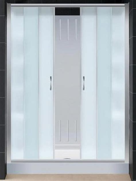 5 Foot Shower Door Dreamline Dl 6111c 01fr Visions Sliding Shower Door With Frosted Glass 60 Quot X 72 Quot With Center
