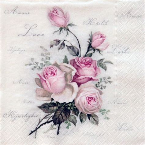 Decoupage Roses - one paper napkin vintage decoupage by