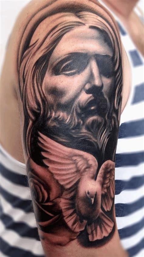 black and grey tattoo artists yorkshire black and grey religious 3d jesus face with flying dove