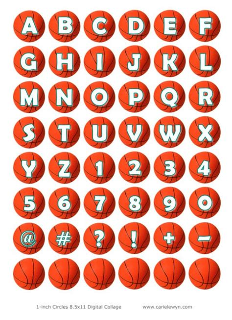 basketball alphabet letters and numbers bottlecap images